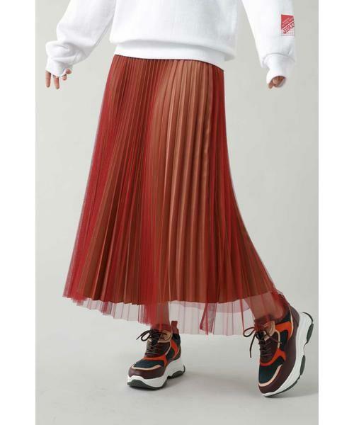 ROSE BUD / ローズ バッド スカート | チュールプリーツスカート(レッド)