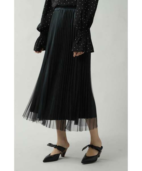 ROSE BUD / ローズ バッド スカート | チュールプリーツスカート(ブラック)