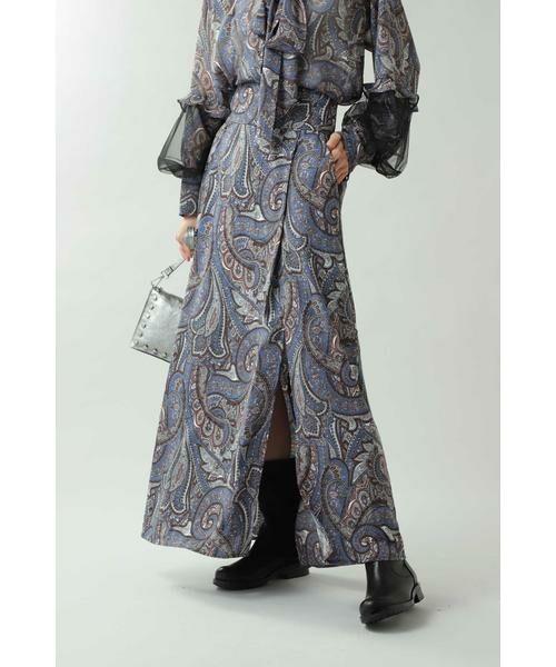 ROSE BUD / ローズ バッド スカート | ペイズリープリントマキシスカート(ブルー)