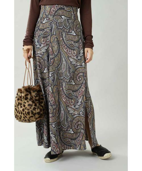 ROSE BUD / ローズ バッド スカート | ペイズリープリントマキシスカート(ベージュ)