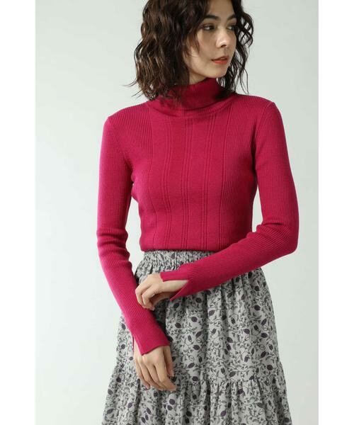 ROSE BUD / ローズ バッド ニット・セーター | リブタートルニット(ピンク)