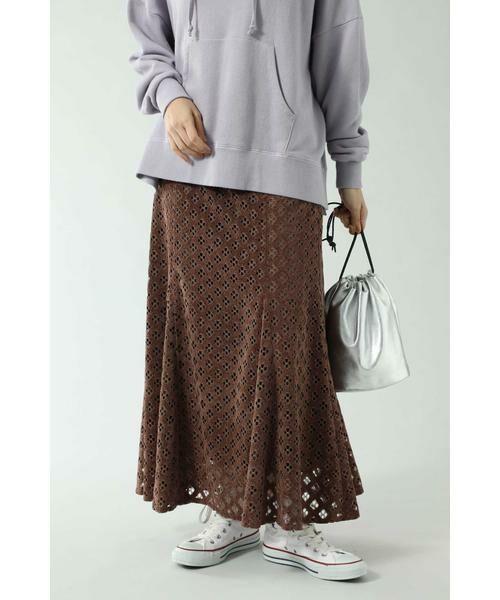 ROSE BUD / ローズ バッド スカート | 透かしナロースカート(ブラウン)