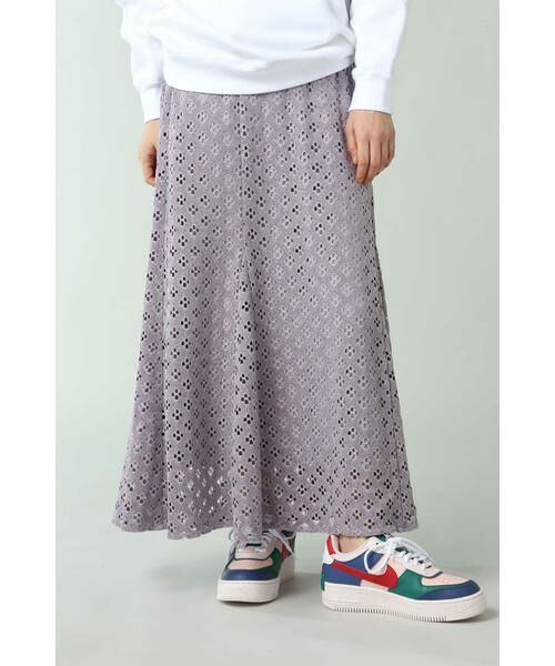 ROSE BUD / ローズ バッド スカート | 透かしナロースカート(パープル)