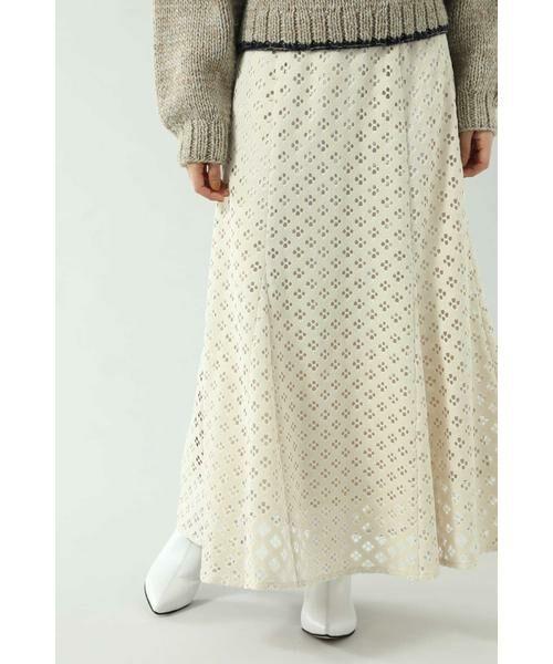 ROSE BUD / ローズ バッド スカート | 透かしナロースカート(ベージュ)
