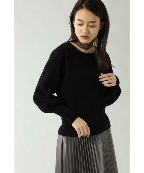 ROSE BUD / ローズ バッド ニット・セーター | スカーフ付きクルーネックニット(ブラック)