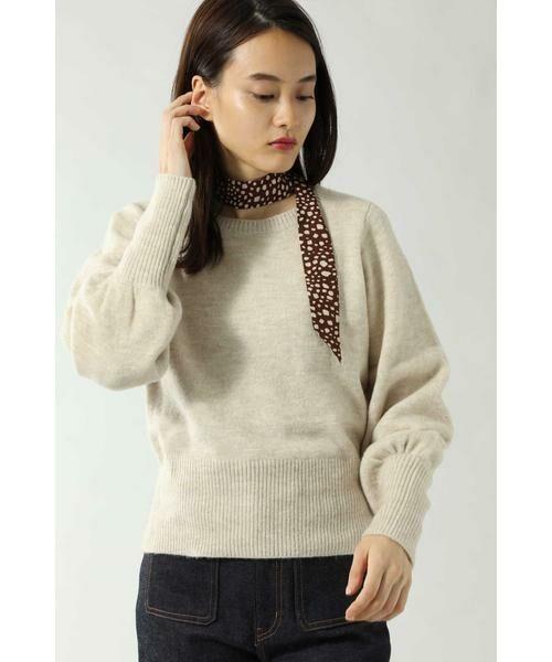 ROSE BUD / ローズ バッド ニット・セーター | スカーフ付きクルーネックニット(ベージュ)