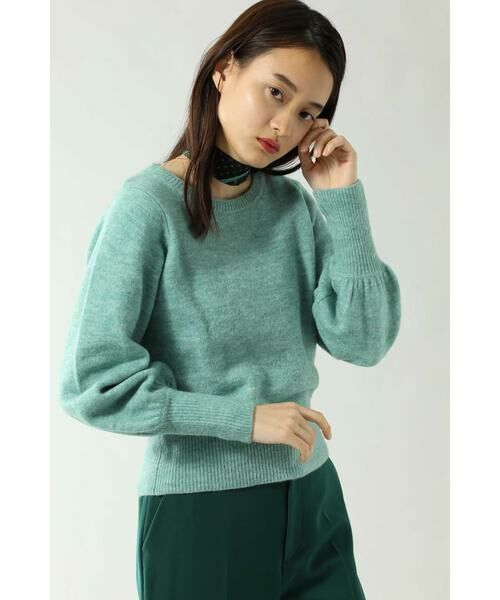 ROSE BUD / ローズ バッド ニット・セーター | スカーフ付きクルーネックニット(グリーン)