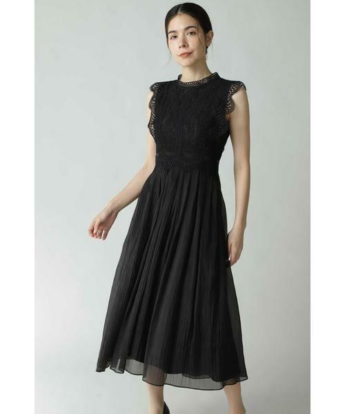 ROSE BUD / ローズ バッド ワンピース | レース切り替えワンピースドレス(ブラック)