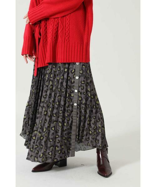 ROSE BUD / ローズ バッド スカート | アニマルプリーツスカート(ブラウン)