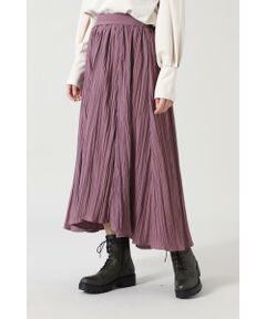どこか落ち着きのあるワッシャープリーツを使用したスカート<br/>・ボリュームが出るプリーツ加工<br/>・ハリ感のある微光沢の素材を使用<br/>・ウエストゴム仕様<br/><br/><br/>【スタッフレビュー】<br/>ふんだんに施されたワッシャー加工がボリュームのあるプリーツスカート。前後で差のあるデザインが存在感のある1枚です。裾に向かってフレアに広がっていくシルエットが美脚効果も期待できます。インでもアウトでもサマになるデザインはカジュアルにもきれいめカジュアルスタイリングにも相性よく、様々なシーンで着まわせるアイテムです。