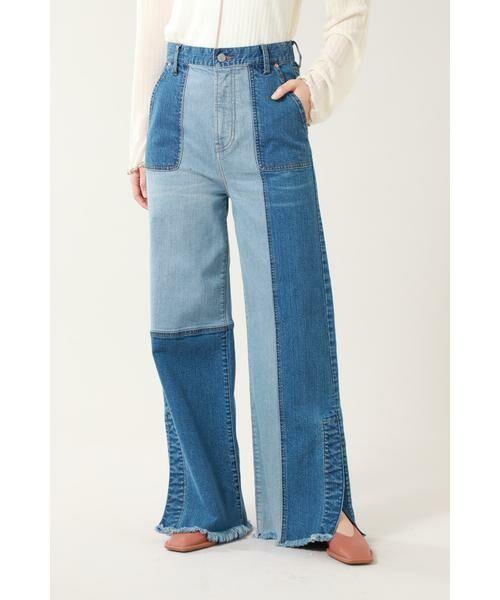ROSE BUD / ローズ バッド パンツ   カラーブロックデニムパンツ(ブルー)