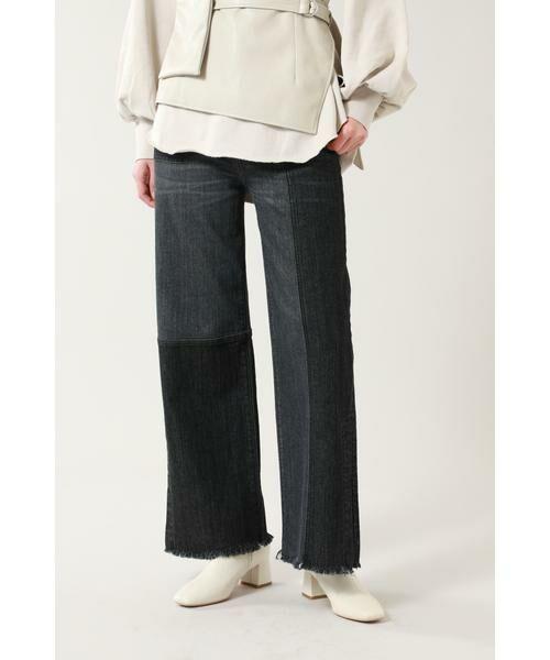 ROSE BUD / ローズ バッド パンツ   カラーブロックデニムパンツ(ブラック)