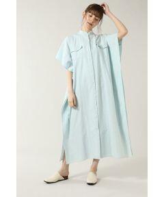 ハンドメイドのタイダイ染めとデニム素材を使用したシャツドレス<br/>・ライトオンスのデニム素材とオックス生地タイダイ染めの2素材を使用<br/>・民族衣装のカフタンのようなゆったりとしたシルエット<br/>・レイヤードしやすい裾のスリットと大きめのアームホール<br/>・フリンジ加工ネック<br/>・前開きで羽織としても着用可能<br/>・自宅で洗濯可能<br/><br/><br/>【スタッフレビュー】<br/>真夏まで着られるデニムと天然素材のマキシ丈シャツワンピース。リメイク風のフリンジネックと民族衣装のカフタンドレスのようなシルエットが特徴的なアイテムです。1着でワンピースとして着られるだけでなく、前開きボタンなのでロングシャツ感覚でボトムとのスタイリングを楽しむこともできます。<br/><br/><br/>【取扱注意事項】<br/>この商品は独特な風合いを出すために製品洗いや製品染め等をしています。<br/>一枚一枚の色合い・風合い・サイズ等が微妙に異なります。<BR>透け感/なし|裏地/なし|光沢/なし|生地の厚さ/普通|伸縮性/なし|シルエット/ビッグ