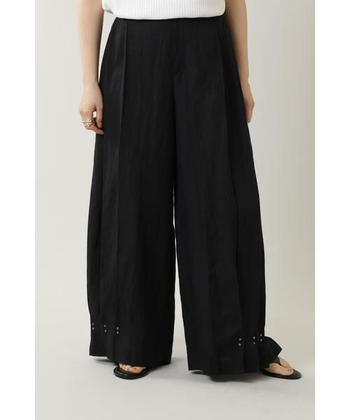 ROSE BUD / ローズ バッド パンツ   サイドタックワイドパンツ(ブラック)