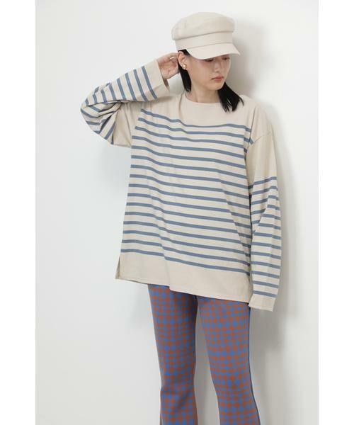 ROSE BUD / ローズ バッド カットソー | ナバルボーダーロングTシャツ(ブルー)