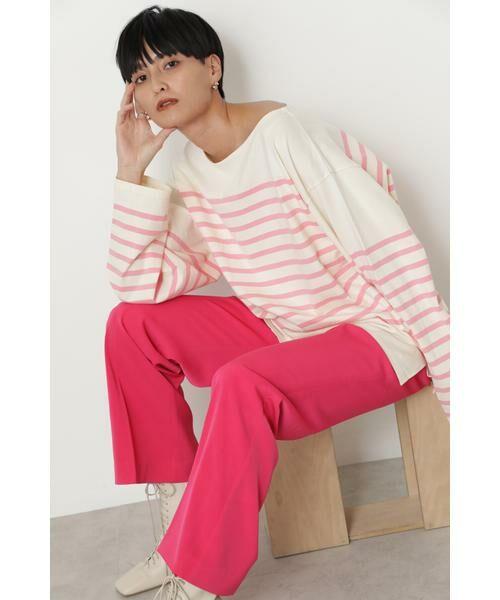 ROSE BUD / ローズ バッド カットソー | ナバルボーダーロングTシャツ(ピンク)