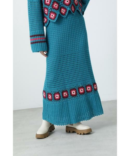 ROSE BUD / ローズ バッド スカート | クロシェスカート(ブルー)