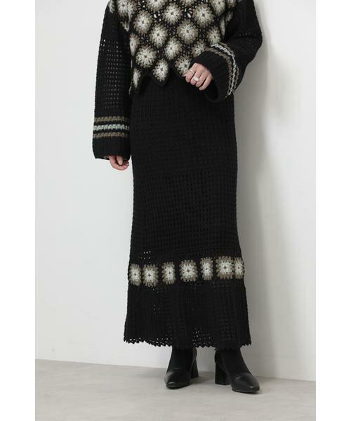 ROSE BUD / ローズ バッド スカート | クロシェスカート(ブラック)