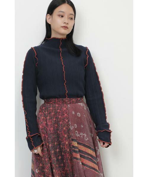 ROSE BUD / ローズ バッド ニット・セーター | メロー配色ハイネックニット(ネイビー)