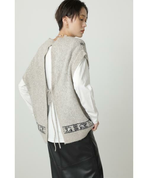 ROSE BUD / ローズ バッド ニット・セーター | 絨毯柄ニット(ベージュ)