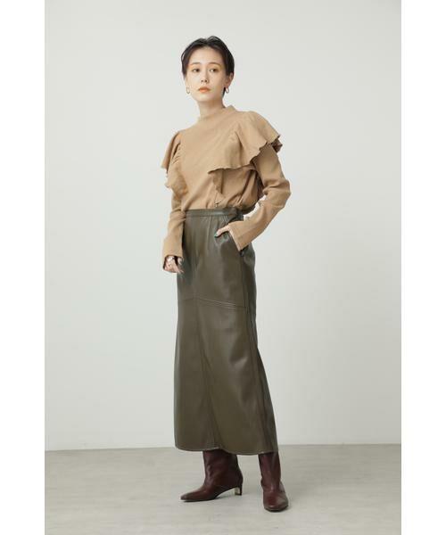 ROSE BUD / ローズ バッド スカート | フェイクレザー切り替えフレアスカート | 詳細1