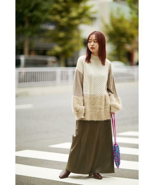 ROSE BUD / ローズ バッド スカート | フェイクレザー切り替えフレアスカート | 詳細3
