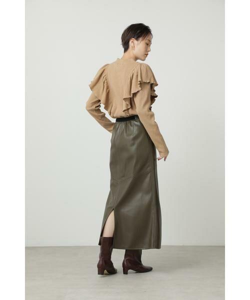 ROSE BUD / ローズ バッド スカート | フェイクレザー切り替えフレアスカート | 詳細2