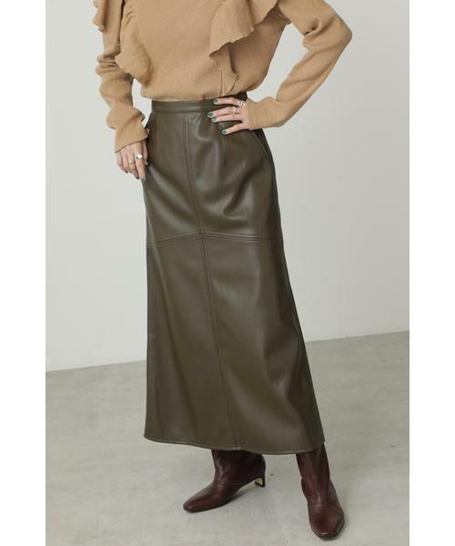 ROSE BUD / ローズ バッド スカート | フェイクレザー切り替えフレアスカート(カーキ)
