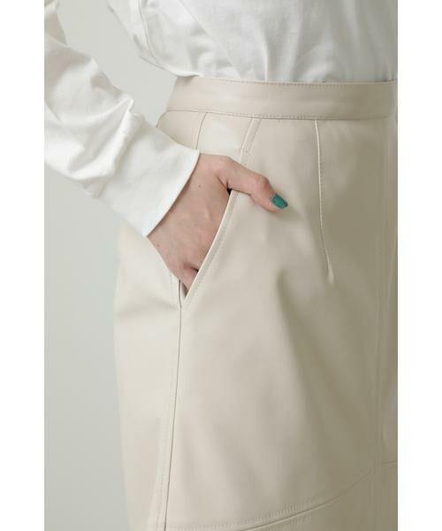 ROSE BUD / ローズ バッド スカート | フェイクレザー切り替えフレアスカート | 詳細11