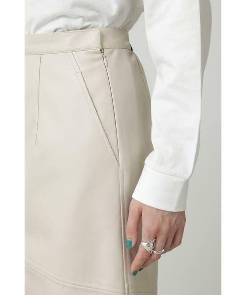 ROSE BUD / ローズ バッド スカート | フェイクレザー切り替えフレアスカート | 詳細12