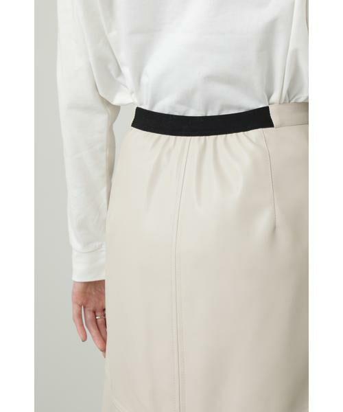 ROSE BUD / ローズ バッド スカート | フェイクレザー切り替えフレアスカート | 詳細13