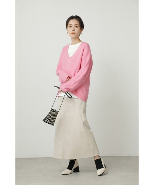 ROSE BUD / ローズ バッド スカート | フェイクレザー切り替えフレアスカート | 詳細4