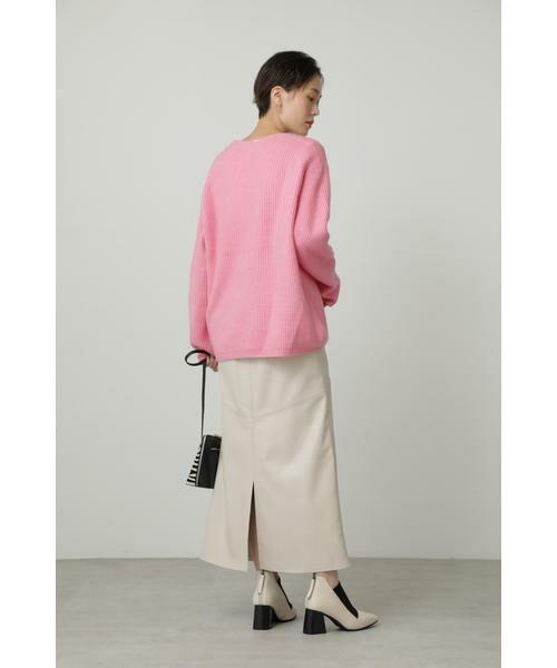 ROSE BUD / ローズ バッド スカート | フェイクレザー切り替えフレアスカート | 詳細5