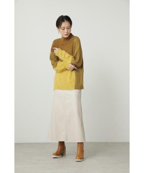 ROSE BUD / ローズ バッド スカート | フェイクレザー切り替えフレアスカート | 詳細6