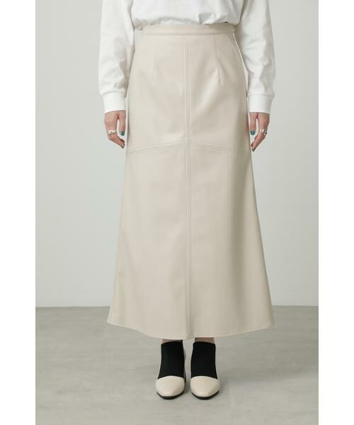 ROSE BUD / ローズ バッド スカート | フェイクレザー切り替えフレアスカート | 詳細7