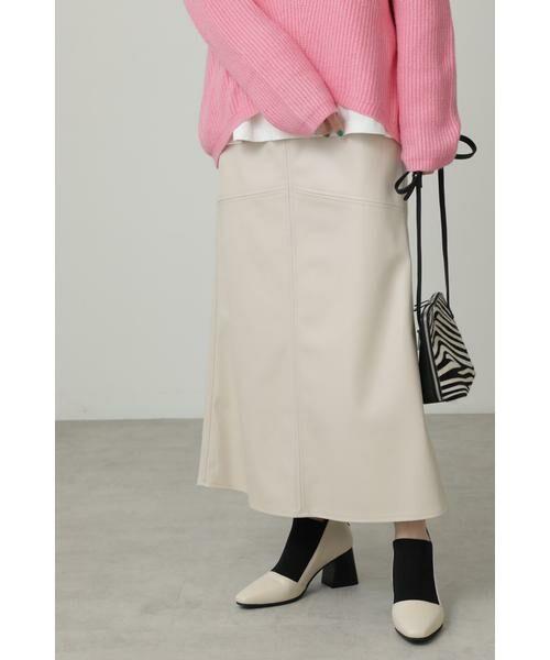 ROSE BUD / ローズ バッド スカート | フェイクレザー切り替えフレアスカート(ホワイト)