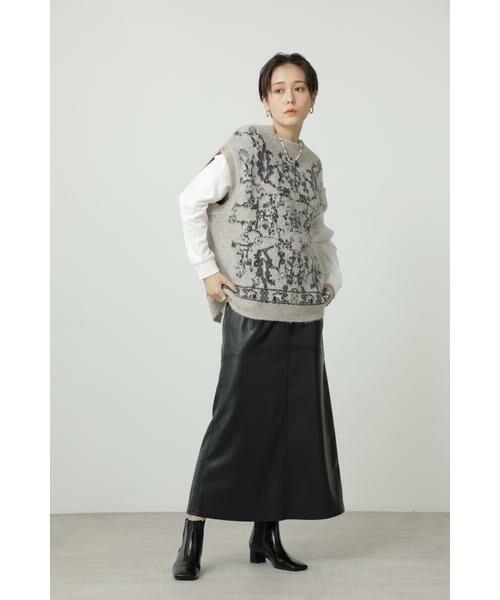 ROSE BUD / ローズ バッド スカート | フェイクレザー切り替えフレアスカート | 詳細16