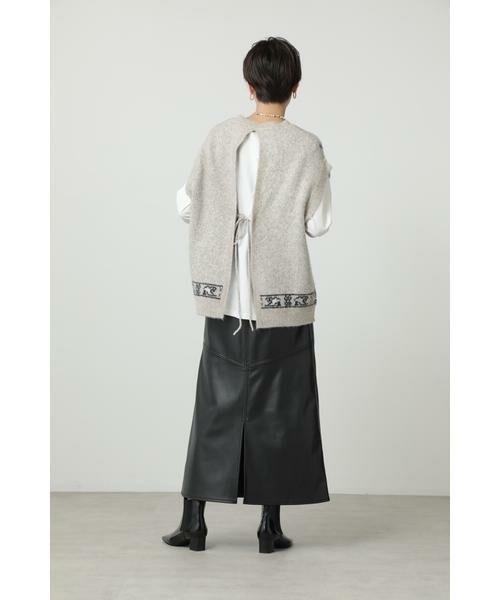 ROSE BUD / ローズ バッド スカート | フェイクレザー切り替えフレアスカート | 詳細17