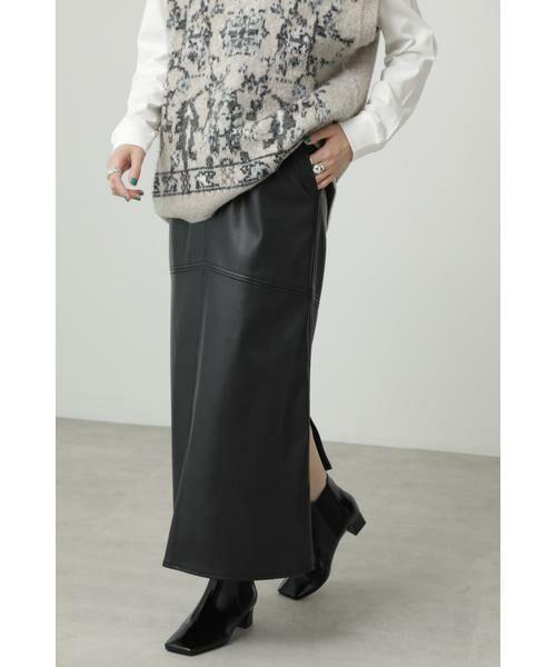 ROSE BUD / ローズ バッド スカート | フェイクレザー切り替えフレアスカート(ブラック)
