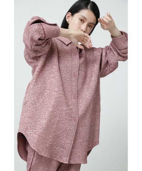 ROSE BUD / ローズ バッド シャツ・ブラウス | ジャカードビッグシャツ(ピンク)