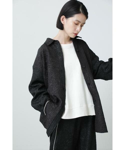 ROSE BUD / ローズ バッド シャツ・ブラウス | ジャカードビッグシャツ(ブラック)