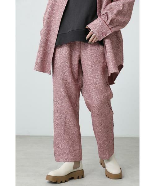 ROSE BUD / ローズ バッド パンツ   ジャカードイージーパンツ(ピンク)