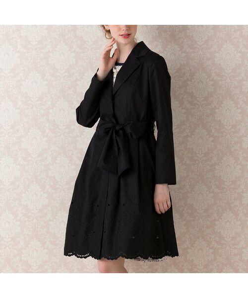 Rose Tiara / ローズティアラ トレンチコート   カットワーク刺繍トレンチコート(ブラック)