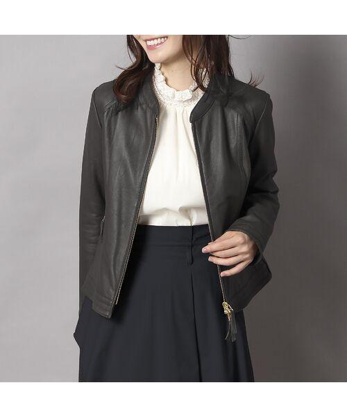 Rose Tiara / ローズティアラ ノーカラージャケット | ラムレザーブルゾン(ブラック)
