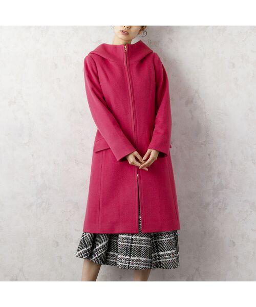 Rose Tiara / ローズティアラ その他アウター   フード付きウールジップコート(ピンク)