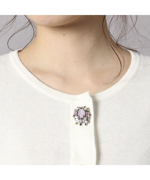 Rose Tiara / ローズティアラ ニット・セーター | ビジューボタンミラノリブボレロ | 詳細4