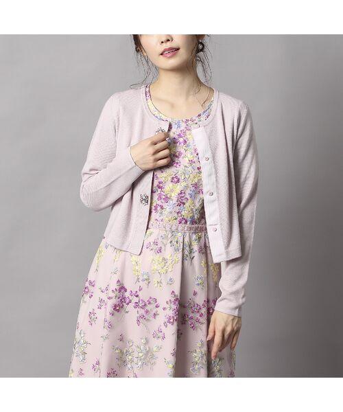 Rose Tiara / ローズティアラ ニット・セーター | ビジューボタンミラノリブボレロ(ピンク)