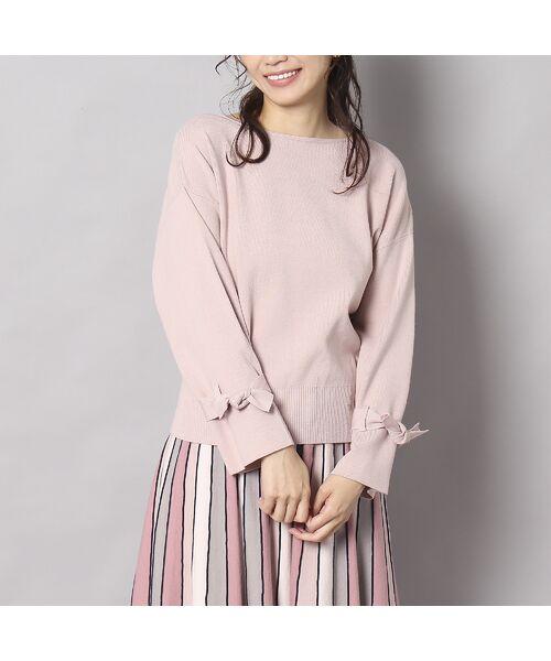 Rose Tiara / ローズティアラ ニット・セーター | フレアリボンスリーブニットプルオーバー(ピンク)