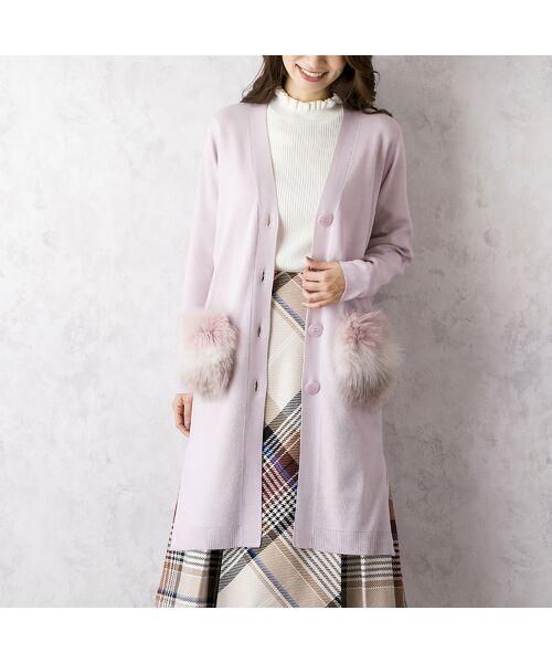 Rose Tiara / ローズティアラ ニット・セーター | フォックスファー付きニットカーディガン(ピンク)