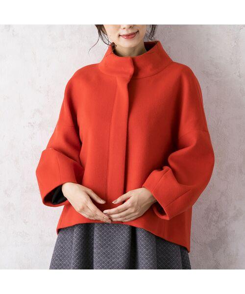 Rose Tiara / ローズティアラ ノーカラージャケット | コクーンスリーブショートジャケット(オレンジ)